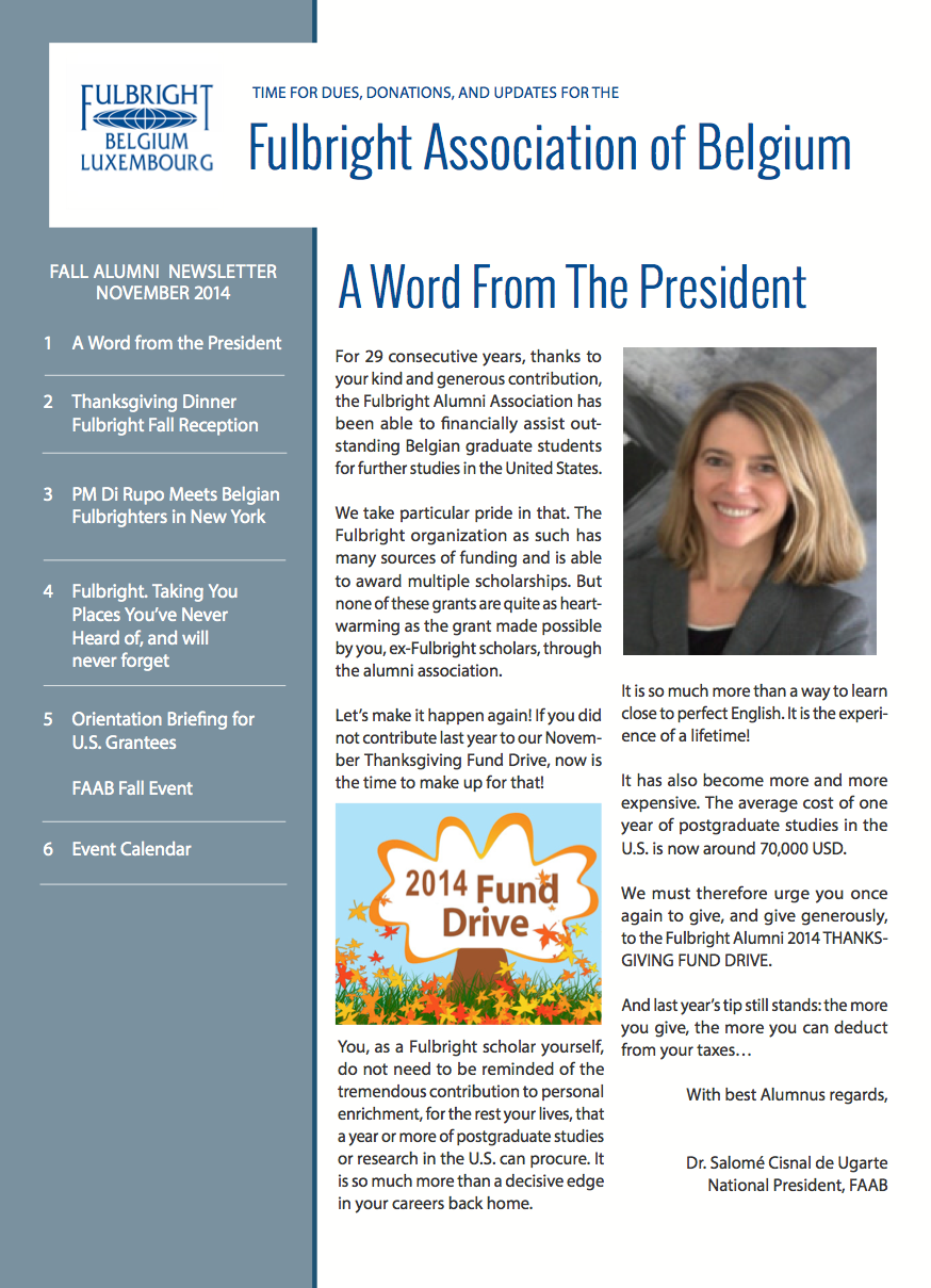 Fulbright Alumni Fall 2014 Newsletter