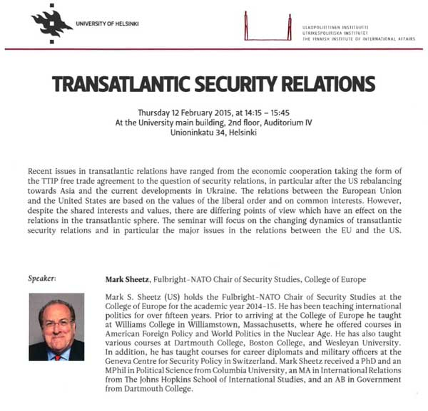 Fulbright-NATO Chair of Security Studies Lectures on Transatlantic Relations in Finland